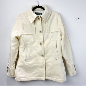Woolrich cream vintage wool quilted lined coat
